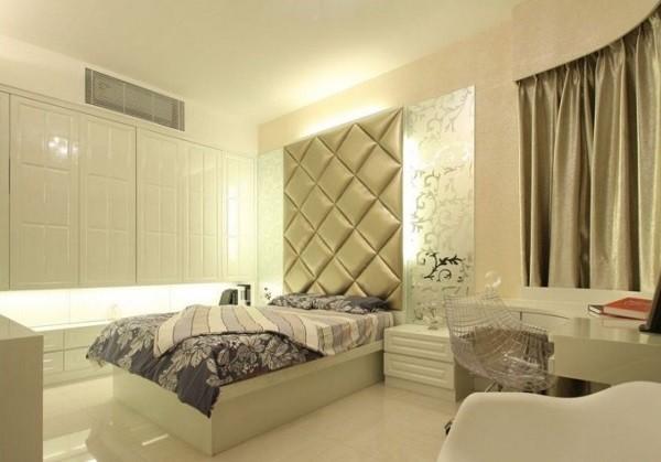 pared cabecero raso acolchado dormitorio