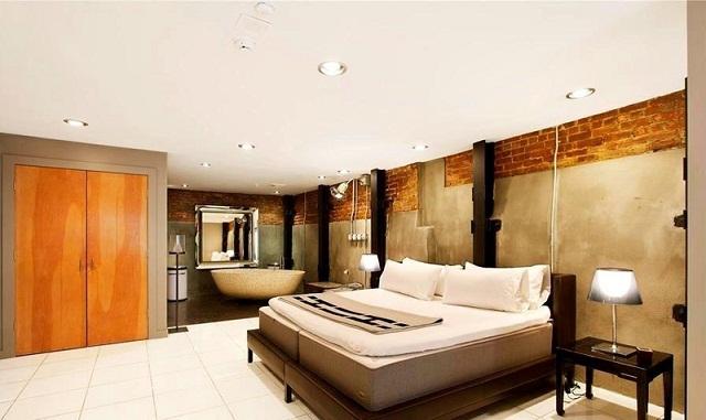 pared contemporanea cemento ladrillos madera