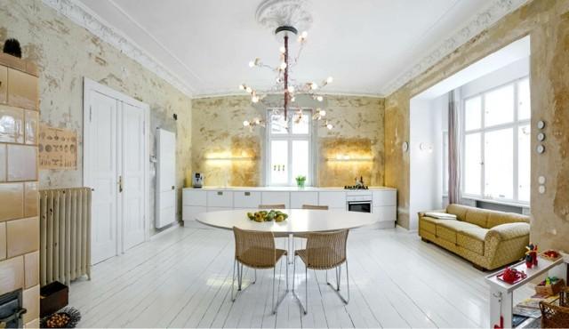 pared imagen desgastada amplia blanca cocina bonita retro