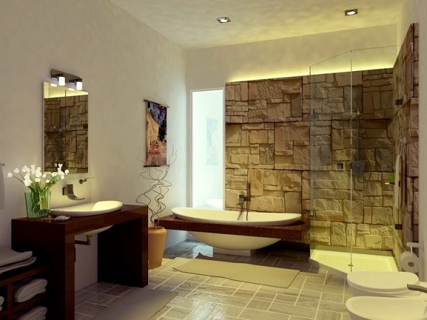 pared moderna piedra baño bañera