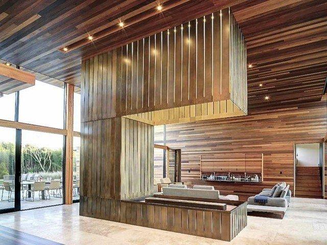 pared moderna cocina comedor madera
