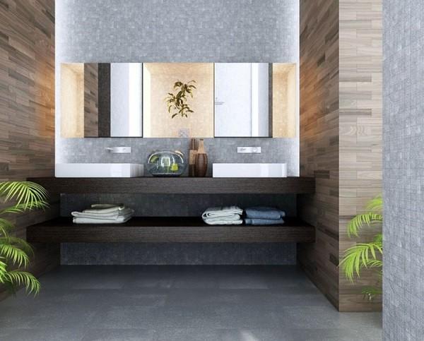 paredes baño parquet madera mosaico