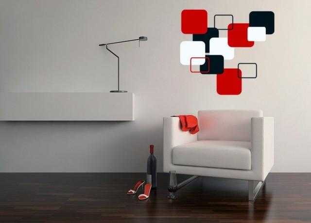 paredes modernas blanco rojo sillon