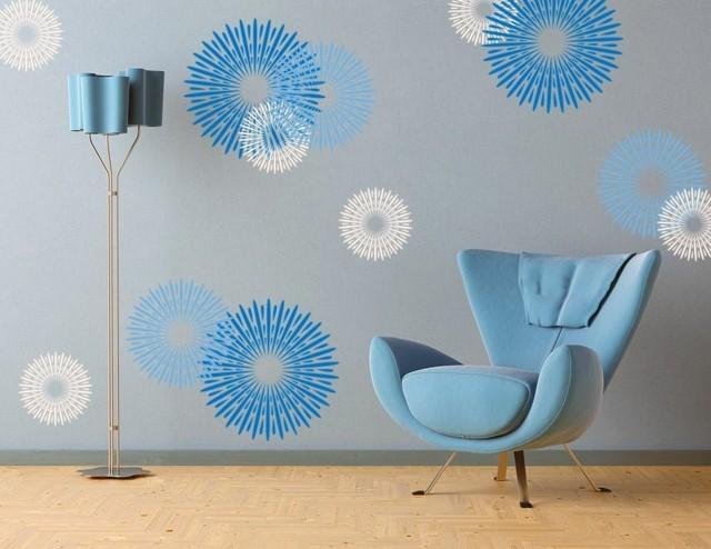 paredes muros circulos azules sillon