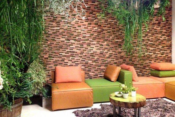 pareed terraza relieves marrón losetas