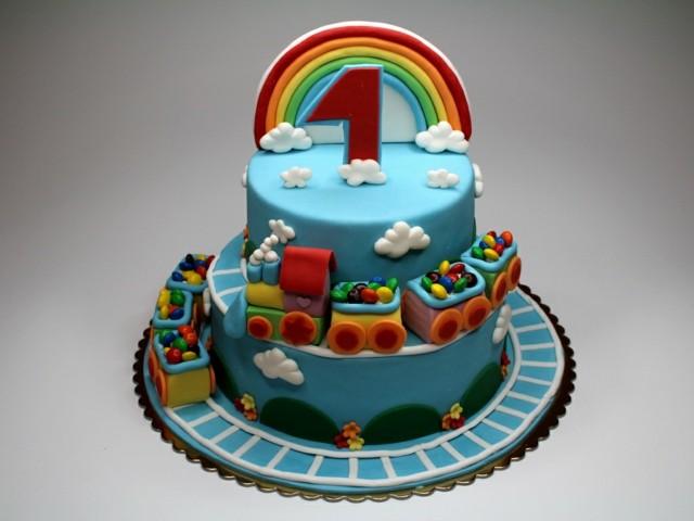 pasteles de cumpleaos arcoiris tren azul