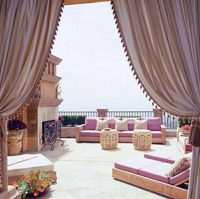 patio árabe estupendo rosa cortinas