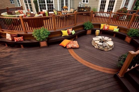 patio jardin madera macetas cojines ondulada