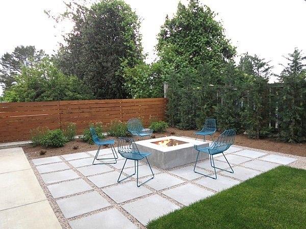 patio muebles contemporaneos fuego minimalista interesante