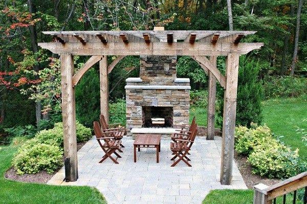 patio muebles madera jardin pérgola