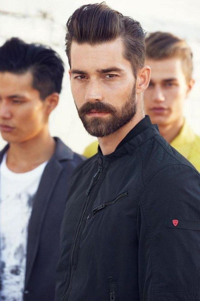 peinado elegante hombre original barba moderno