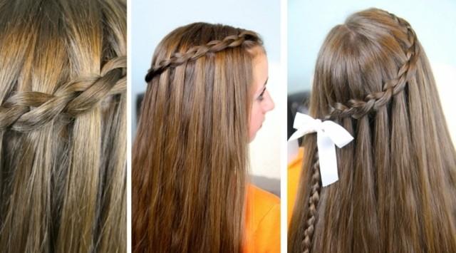 Peinados para niñas, trenza con lazo blanco