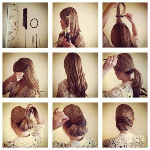 peinados rapidos pelo largo bonitos estilo