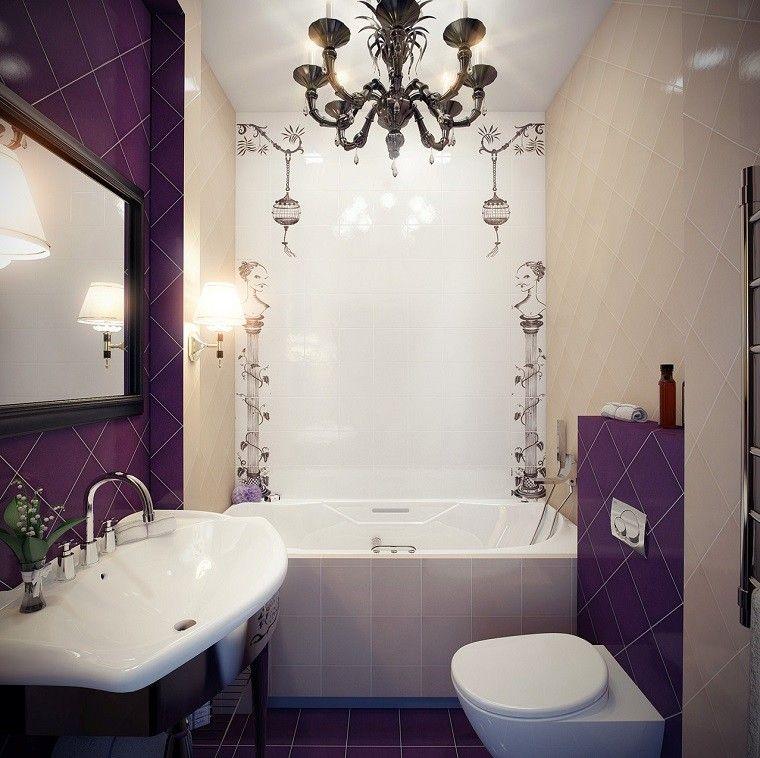 pequeño cuarto baño purpura bañera moderno