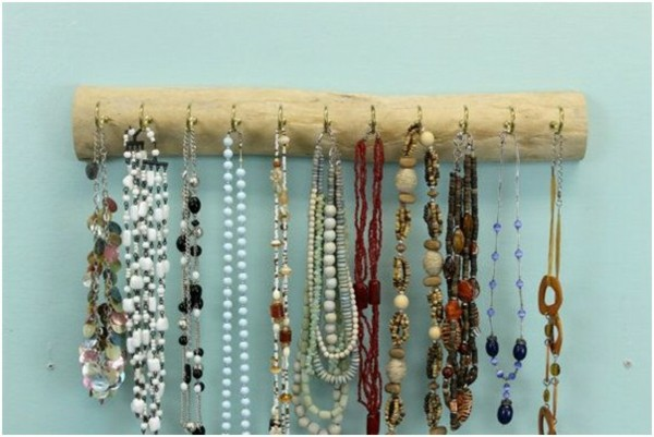 perchero joyas maderas flotantes collares
