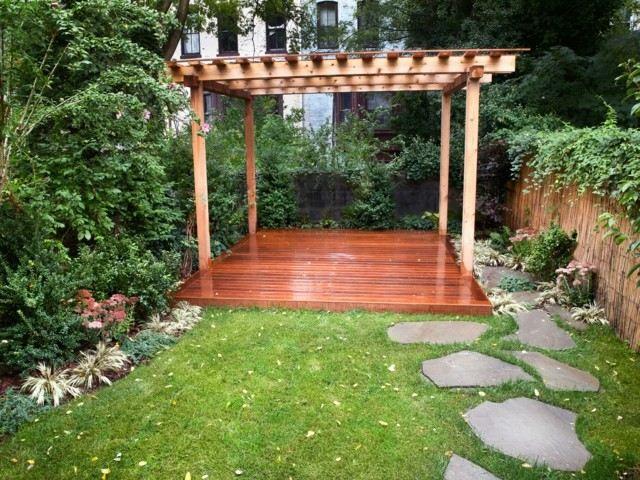 pergola simple idea madera marron perfecta jardin