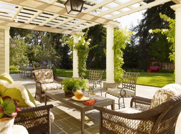 pérgolas de madera comedor muebles jardin exterior