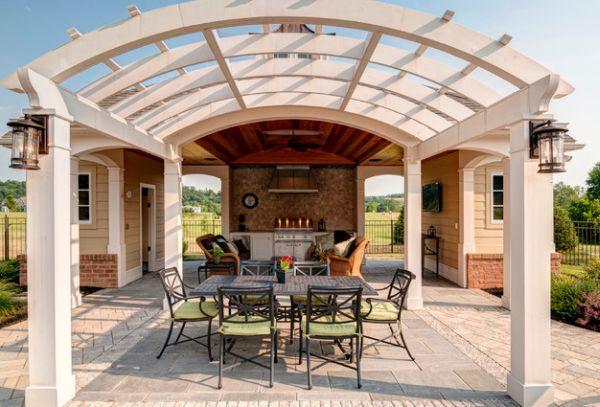 pérgolas de madera exterior diseño curva