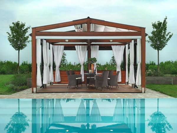 pérgolas de madera jardin cortinas piscina