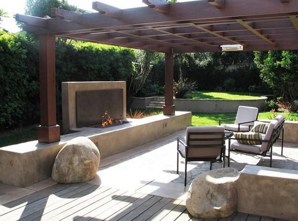 pérgolas de madera jardin flores rocas muebles