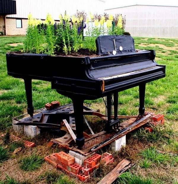 piano plantas  macetas rustico flores
