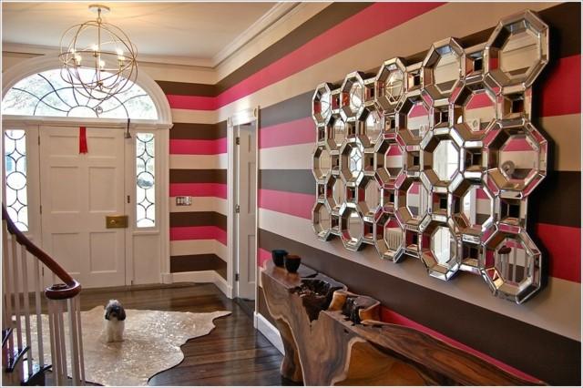 pintura pared lineas horizontales tonos calidos blanco