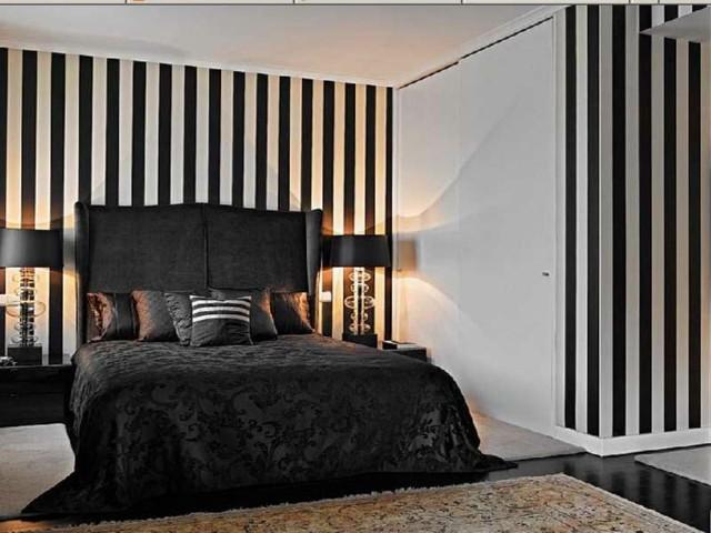 Toque dedistinci n con papel de pared a rayas - Habitaciones blancas y negras ...