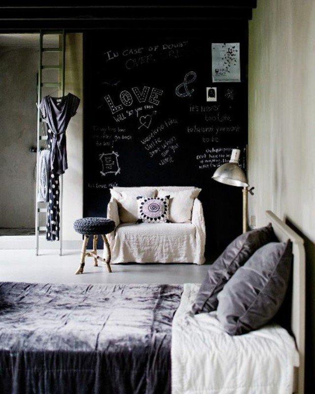 pintura pizarra colores pared lateral dormitorio