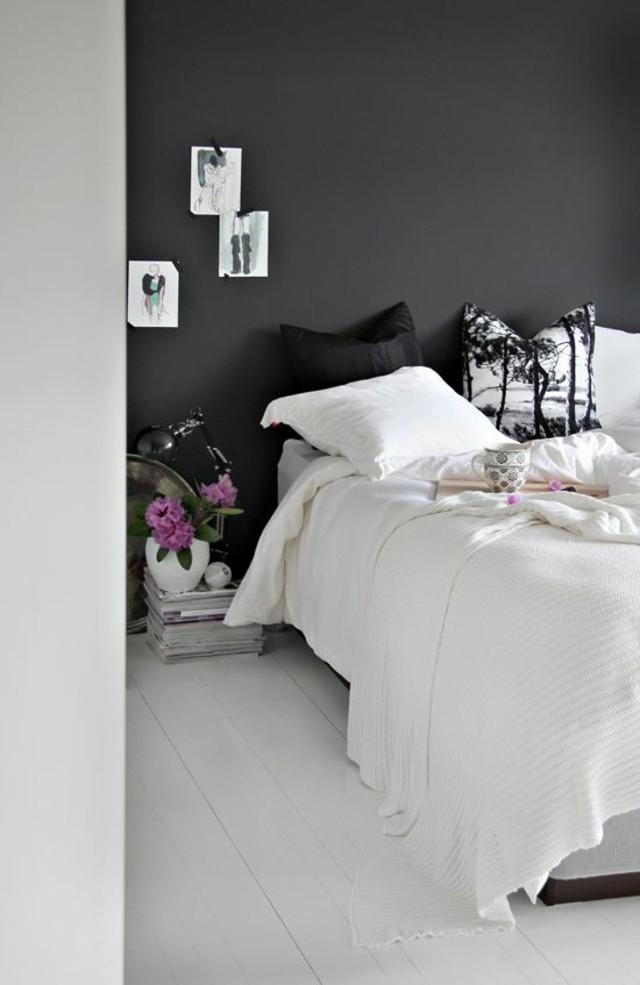 Pintura pizarra para decorar tu pared de forma f cil y original - Dormitorio en blanco y negro ...
