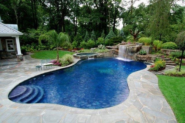piscina forma interesante cesped palmeras jardin trasero
