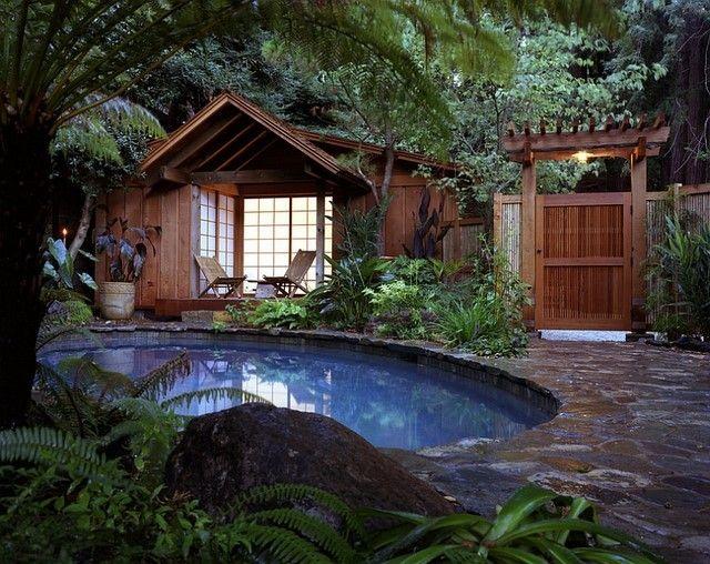 piscina redonda agua rural plantas alrededor