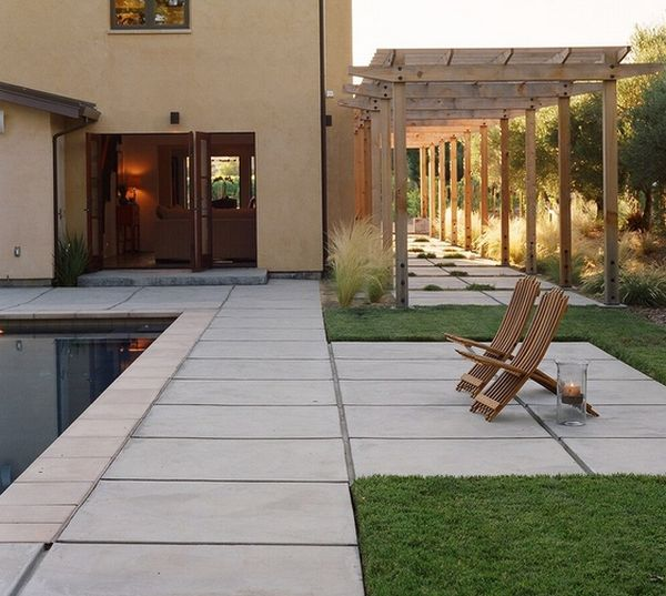 piscina sillas pergola xeriscape piscina moderno