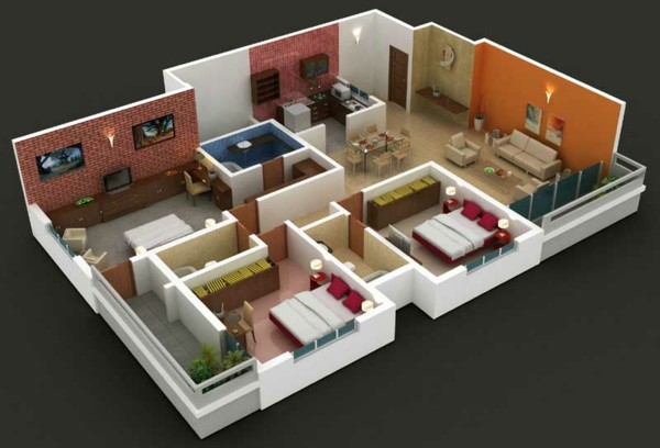 Planos de casas y apartamentos en 3 dimensiones for Planos de casas lindas