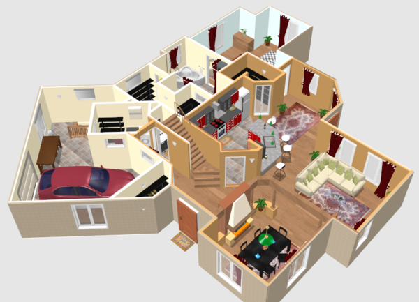 Planos de casas y apartamentos en 3 dimensiones for Plano de casa 3d
