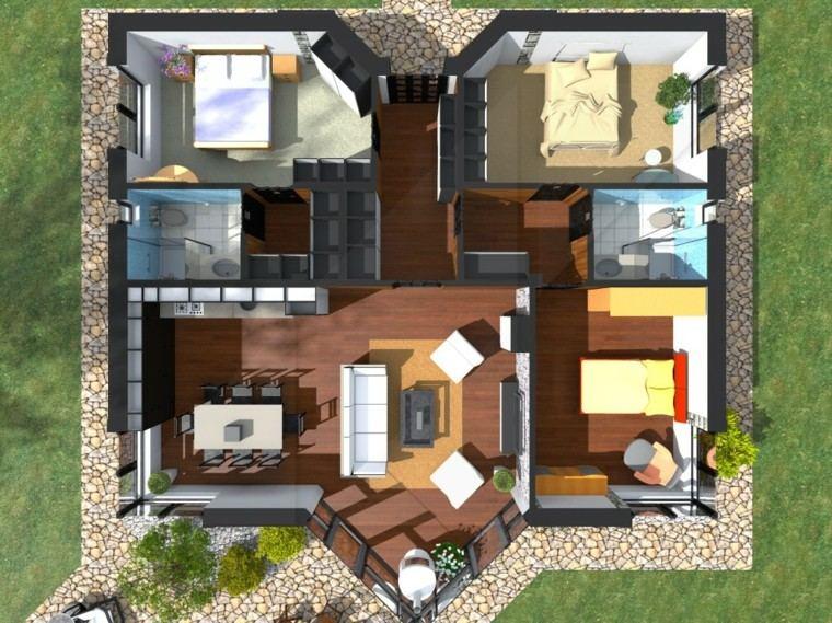 Planos de casas y apartamentos en 3 dimensiones for Casa grande con piscina y jardin