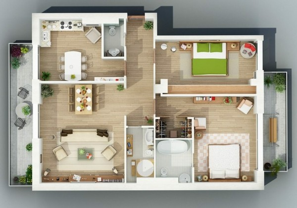 Planos de casas y apartamentos en 3 dimensiones for Diseno de apartamentos de 90 metros cuadrados