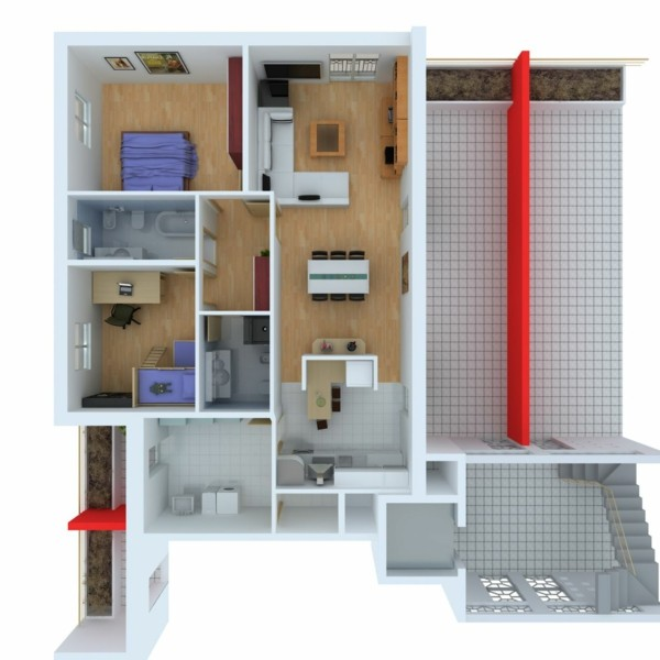 Planos de casas y apartamentos en 3 dimensiones for Planos de casas con patio interior