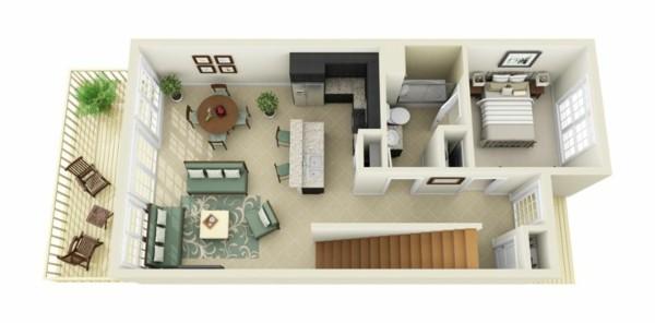 plano casa piso beige