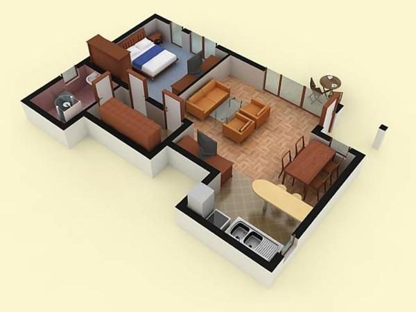 Planos de casas y apartamentos en 3 dimensiones for Planos de casa habitacion