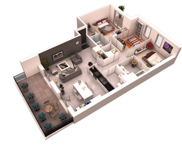Planos de casas y apartamentos en 3 dimensiones for Programa para hacer habitaciones en 3d