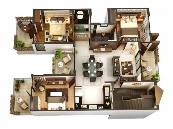 Planos de casas y apartamentos en 3 dimensiones - Planos de casa en 3d ...