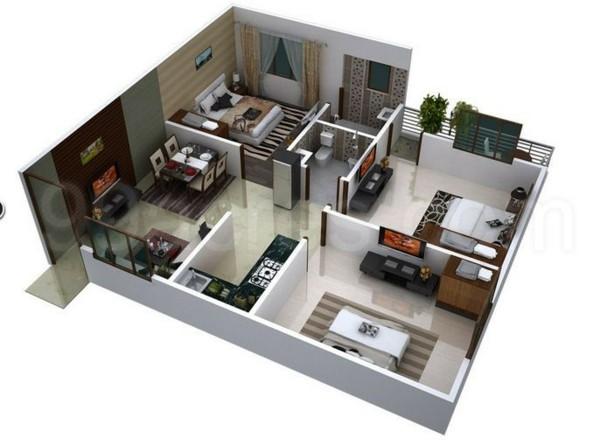 Planos de casas y apartamentos en 3 dimensiones for Disenar habitaciones online 3d