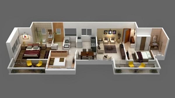 Planos de casas y apartamentos en 3 dimensiones for Maquetas de apartamentos modernos