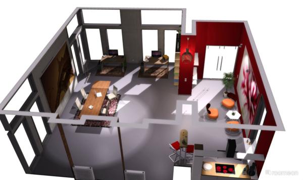 plano piso moderno color rojo