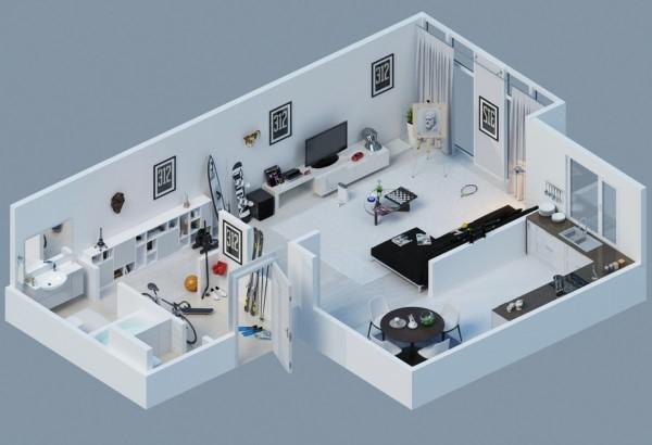 plano piso pequeño blanco moderno