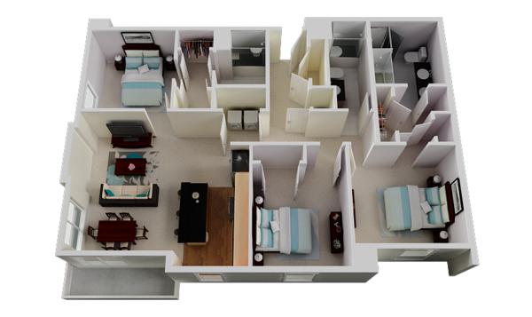 Planos De Casas Y Apartamentos En 3 Dimensiones - Planos-de-pisos-de-3-dormitorios