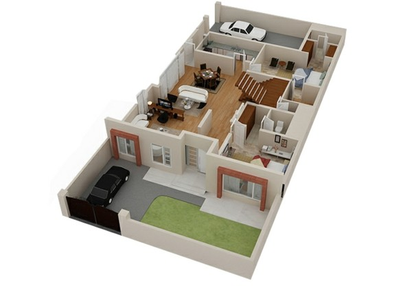 Planos de casas y apartamentos en 3 dimensiones Indian model house plan design