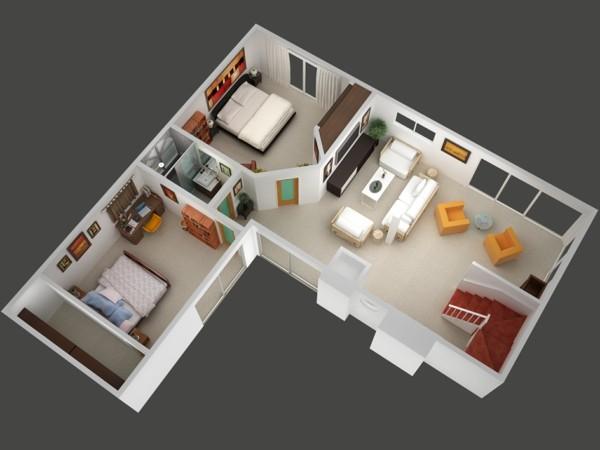 Planos De Casas Y Apartamentos En 3 Dimensiones - Planos-de-casas-de-una-planta-pequeas