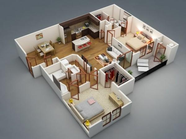 Planos de casas y apartamentos en 3 dimensiones for Plano para cocina americana