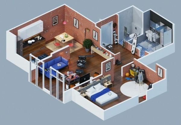 planos de casas de dos pisos de ladrillo